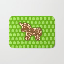 Gingerbread Unicorn on Green Background Bath Mat