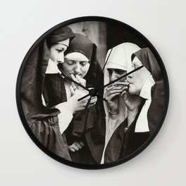 Nuns Smoking Wall Clock