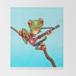 Tree Frog Playing Acoustic Guitar with Flag of Cuba Throw Blanket