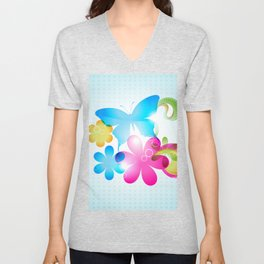 Butterfly Colorful Flowers Paisley And Butterflies Unisex V-Neck