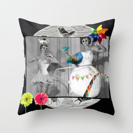 Hooping Homemakers with a blue fish (and other things) Throw Pillow