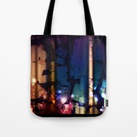 the lights Tote Bags featuring Lights by Tina Stamatopoulou