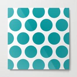 Large Polka Dots: Teal Metal Print