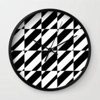 grid Wall Clocks featuring Grid by Laura Maria Designs