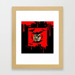 BAT INFESTED HAUNTED SKULL ON BLEEDING HALLOWEEN ART Framed Art Print