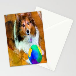 Sheltie with Ball Stationery Cards