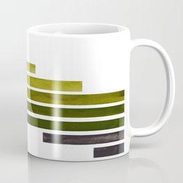 Olive Green Midcentury Modern Minimalist Staggered Stripes Rectangle Geometric Aztec Pattern Waterco Coffee Mug