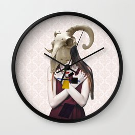 Skull Abstract Collage Wall Clock