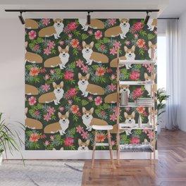 Welsh Corgi hawaiian print pattern florals tropical summer dog breed pet portrait Wall Mural