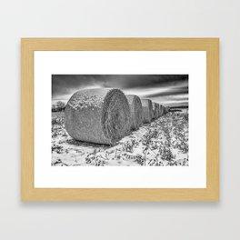 B&W hay bails Framed Art Print