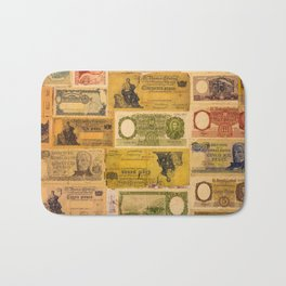Numerous old banknotes of the Argentine Republic already out of circulation. Bath Mat