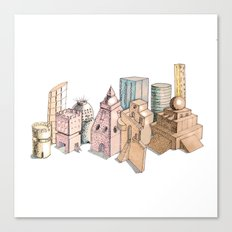 the city painted in pastel colours Canvas Print