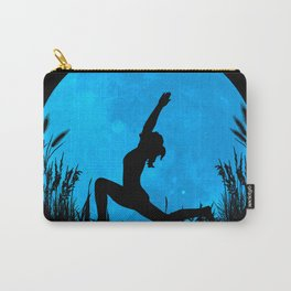 Yoga Moon Posture - Blue Carry-All Pouch