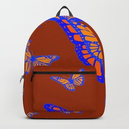 CHOCOLATE COLOR & BLUE-GOLD MONARCH BUTTERFLIES Backpack