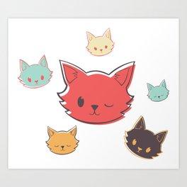 Kitty Wink Art Print
