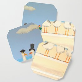 Seagulls with Hats Coaster