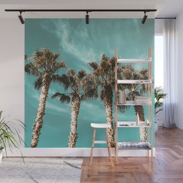 Tropical Palm Tree Photography {1 of 2} | Teal Blue Sky Wind Blown Clouds Wall Mural