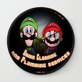 Super Mario Bros. Drain Cleaning & Plumbing Service Wall Clock