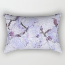 Dogwood Tree Flowers (stained glass-blue) Rectangular Pillow