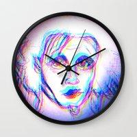 eddie vedder Wall Clocks featuring scissor hands eddie by lostfounders
