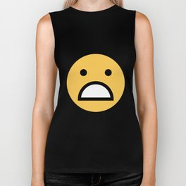 Smiley Face      Cute Big Mouth Unhappy Smiling Face Biker Tank