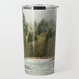 Wanderlust Forest River - Mountain Adventure in Foggy Woods Travel Mug