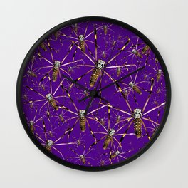 Watercolor Graphic 07, Spider Crawl, Golden Orb Weaver Royale Wall Clock