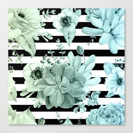 Succulents in the Garden Teal Blue Green Gradient with Black Stripes Canvas Print
