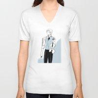 violin V-neck T-shirts featuring Violin by Cassandra Jean