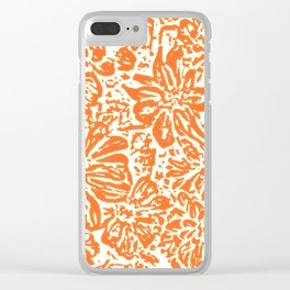 Marigold Lino Cut, Tangerine Orange Clear iPhone Case
