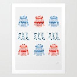 Winter sweaters Art Print