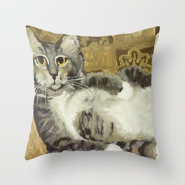 Risque Tabby Throw Pillow