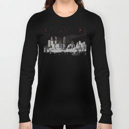 T-Rex dinosaur attacking grunge city Long Sleeve T-shirt