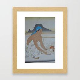 1950 Paul Jacoulet Japanese Woodblock Print Le Deux Adversaires Gauche Framed Art Print