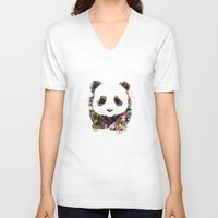 panda V-neck T-shirts featuring panda by ururuty