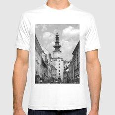 Michael's Gate - Bratislava - BW MEDIUM White Mens Fitted Tee