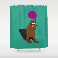 bigfoot Shower Curtains featuring Sandy Bigfoot by Chelsea Herrick