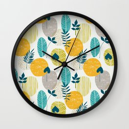 Minimalistic modern pattern with abstract different leaves. Wall Clock