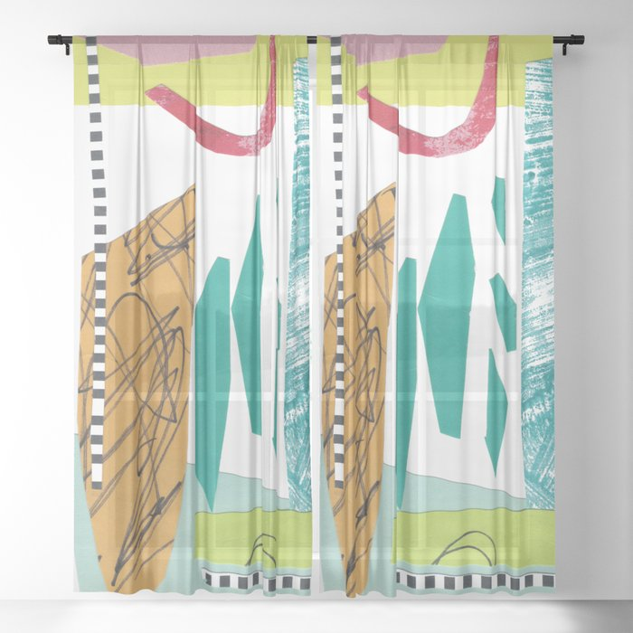 Moving Parts Collage Sheer Curtain