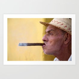 Smoking cigar in Trinidad, Cuba Art Print