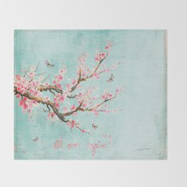 Its All Over Again - Romantic Spring Cherry Blossom Butterfly Illustration on Teal Watercolor Throw Blanket