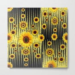 YELLOW ART DECO SUNFLOWERS BLACK ABSTRACT DESIGN Metal Print