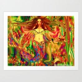 Red mermaid art  nude ladykashmir Art Print