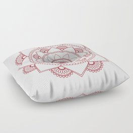 Mandala 01 - Burgundy on White Floor Pillow