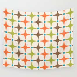 Mid Century Modern Star Pattern 814 Brown Orange Turquoise Chartreuse Wall Tapestry