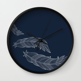 Color Me Feathers - Light Grey Wall Clock