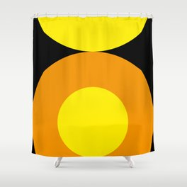 Two suns, one yellow with orange rays,the other orange with yellow rays,both floating in a black sky Shower Curtain