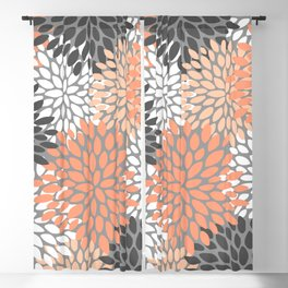 Floral Pattern, Coral, Gray, White Blackout Curtain