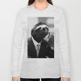 Gentleman Sloth smoking a cigarette Long Sleeve T-shirt