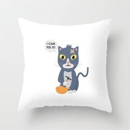 Construction Worker Cat Throw Pillow